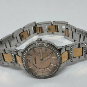 Fossil Womens Stainless Steel Rose Dial Watch KG26